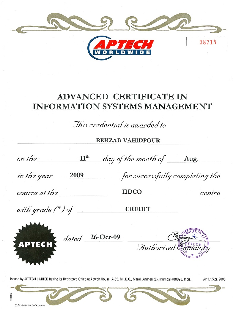 Advanced Certificate In Information Systems Management