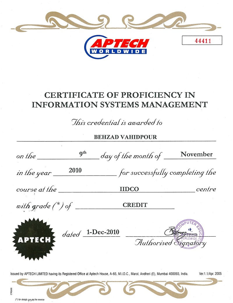 Certificate Of Proficiency In Information Systems Management