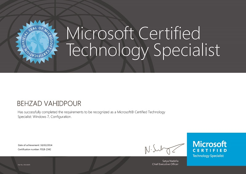 Microsoft Certified Technology Specialist-Windows 7 Configuration